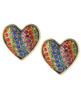 Betsey Johnson Earrings, Gold Tone Glass Crystal Rainbow Heart Stud
