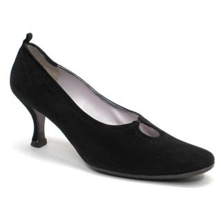 Maud Frizon Paris Made in Italy Black Suede Key Hole Heels Pumps Shoes