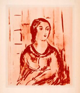 1941 Photolithograph Portrait Woman Maurice de Vlaminck Art Dress