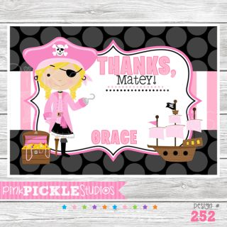 Girl # 2 Personalized Birthday Party Invitation or Thank You Card 252