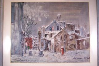 Maurice Utrillo Print on Canvas La Mansion de Mimi Pinson A Montmartre