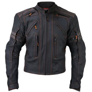 Mens Vulcan Armored Motorcycle Racing Matte Cowhide Leather Jacket M