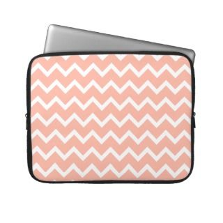 Coral and White Zig Zag Pattern. Laptop Computer Sleeve