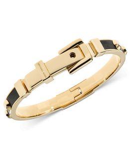 Michael Kors Bracelet, Gold Tone Black Leather Buckle Bangle Bracelet