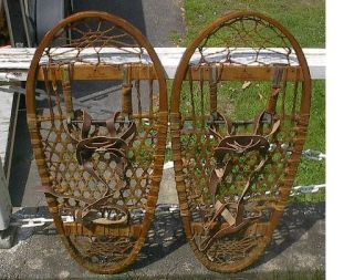 Vintage Antique Bear Paw Snowshoes 28x13 Lund Hastings Minn