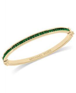 Michael Kors Bracelet, Gold Tone Glass Green Crystal Hinged Bangle
