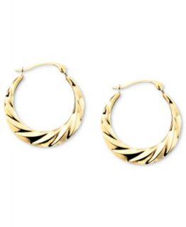 10k Gold Earrings, Swirl Hoop   Earrings   Jewelry & Watches