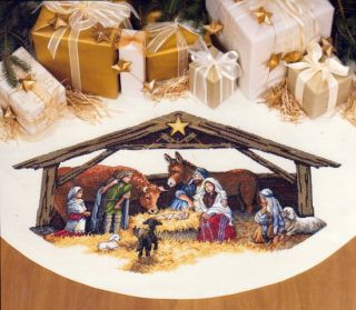 Dimensions Gold Counted Cross Stitch Kit 45 Tree Skirt Nativity Scene