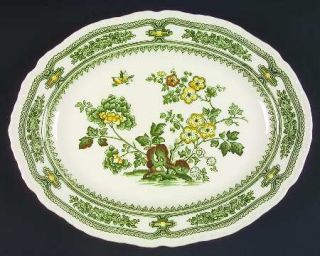 Masons Manchu Green Floral 13 Oval Serving Platter