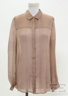 Matthew Williamson Light Brown Silk Pintuck Blouse Size 10 New