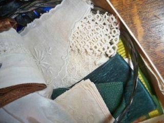 Vintage 1930s Lot Material Bow Lace Ribbon Keepsake