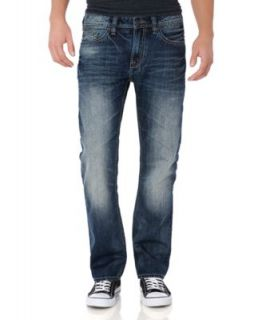 Buffalo Jeans New Sarton Denim Distressed Five Pocket Straight Leg