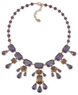 Carolee Necklace, Gold Tone Glass Pearl Epoxy Stone Bib Statement