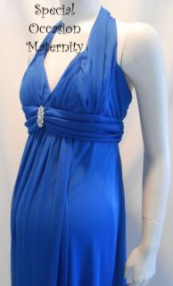 Blue Halter Cocktail Maternity Dress LARGE Baby Shower Evening Dresses