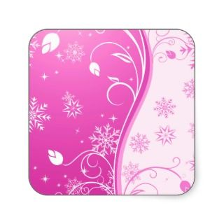 Girly pink floral christmas pattern & chic swirls square stickers