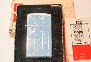 Vintage Zippo Slim Lighter EngravedGail with Original Box Silver
