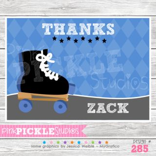 Skate Boy Personalized Birthday Party Invitation or Thank You Card285