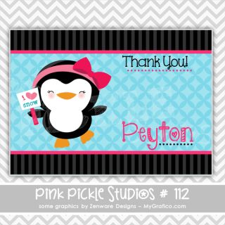 Penguin Personalized Party Invitation or Thank You Card 112