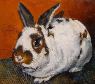 Rabbit Bunny Copper Original Oil Painting K Mccollough