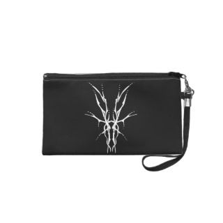 Deer Skull Tribal Tattoo   white on black Wristlet Purses