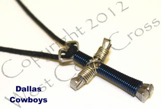 Team Horseshoe Nail Cross Necklace Dallas Cowboys