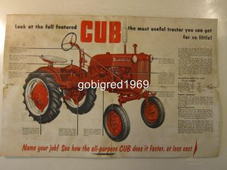 International McCormick Farmall Cub Tractor Color Pamphlet Brochure Ad