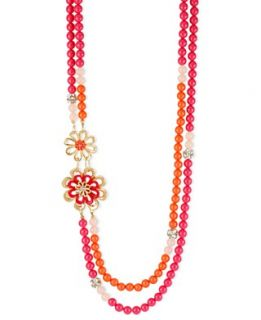Haskell Necklace, Gold Tone Fuchsia and Orange Flower Two Row Long