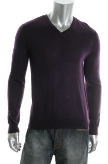 Calvin Klein New Purple Wool Pullover Long Sleeve V Neck Sweater Shirt