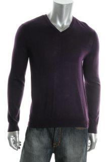 Calvin Klein New Purple Wool Pullover Long Sleeve V Neck Sweater Shirt