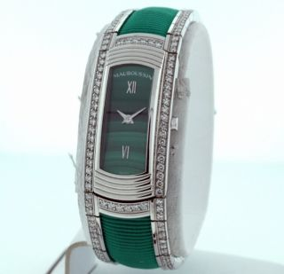 Mauboussin Lady M 18K White Gold Diamond and Malachite Dial New $41