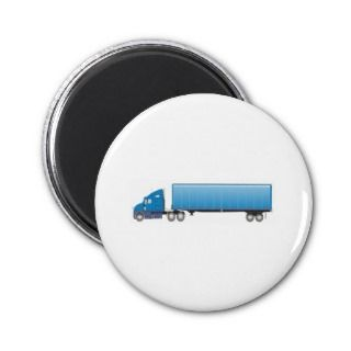 Semi Truck Trailer Blue Magnet