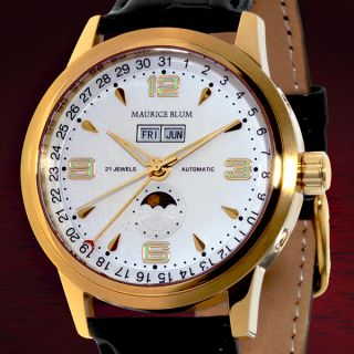 RARE Maurice Blum White Gold Moon Phase Automatic