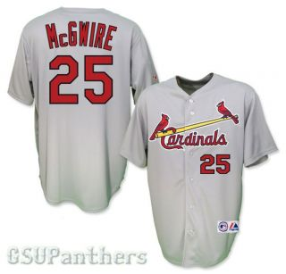 Mark McGwire St Louis Cardinals Grey Road Mens Sewn Jersey Sz M 2XL