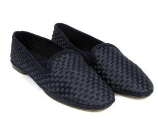 Max Kibardin Navy Woven Satin Suede Flat Moccasins Shoe