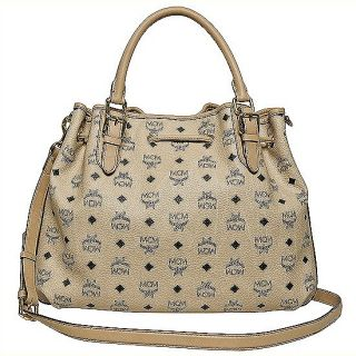 Brand New Authentic MCM Vintage Visetos Shoulder Bag Medium NWT Beige