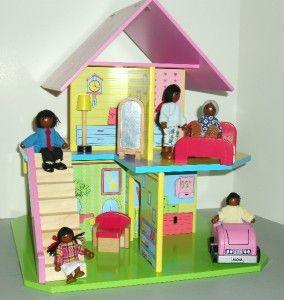 Dolls 6 African American Family Dollhouse Dolls