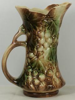 Estate Fresh 1951 McCoy Pottery Grape Handled Pitcher Ewer Vase