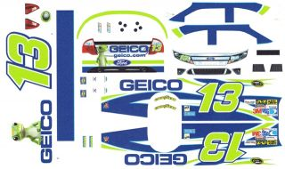 13 Casey Mears Geico Ford 2012 1 32nd Scale Slot Car Waterslide Decals