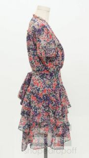 McGinn Grey Coral Print Tiered Wrap Dress Size 8