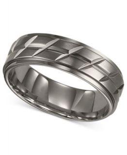 Triton Mens Titanium Ring, Black Silver Tone Wedding Band   Rings