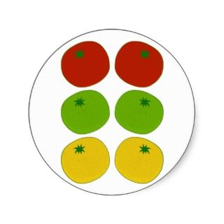 Red, Green & Yellow Tomatoes Round Stickers