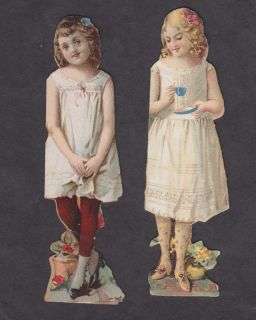 McLaughlins Coffee Advertising Paper Dolls 5 Double Sided Girls 1894