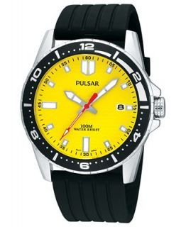 Pulsar Watch, Mens Active Sport Black Polyurethane Strap 41mm PS9107