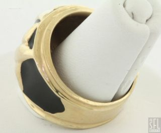 Mazza Brothers Heavy Vintage 14k Gold Black Enamel x Fashion Ring