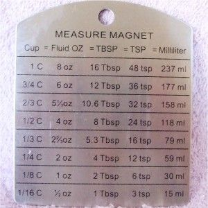 New Stainless Steel Magnet Measure Chart Cups ozs TBSP TSP Millileters