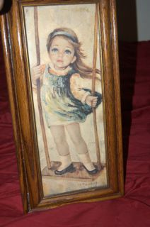 MEDEIROS ARTIST    GIRL BIG EYED ART PORTRAIT   NO GLASS  L  18 X W