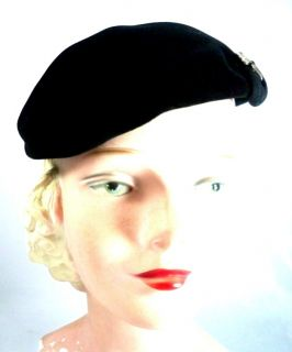 Vintage Ladies Black Velour Cocktail Hat w Rhinestone Accent 1950s