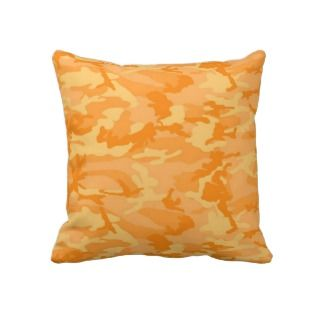 Orange Camo Throw Pillows