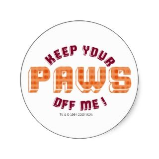 Keep Your Paws Off Me Oval Logo Round Sticker