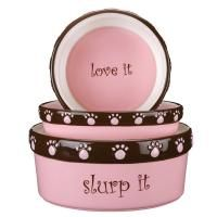 Cutie Paw Dog Cat Ceramic Food Water Bowls Pink
